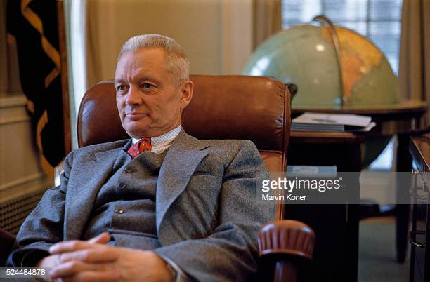 American politician Sherman Adams , White House Chief of Staff, sitting in his office at the White House office in Washington, DC, 1955.