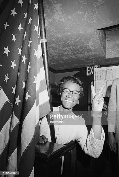 Shirley Chisholm gives the victory sign after winning the Congressional election in Brooklyn's 12th District She defeated civil rights leader James...