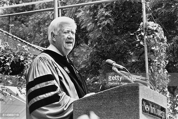 American politician Tip O'Neill gives the commencement speech during the graduation ceremony at New York University New York City June 1986