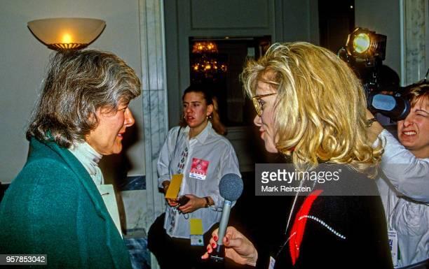 American politician US Congresswoman Pat Schroeder speaks with journalist and NBC correspondent Linda Vester Washington DC 1992