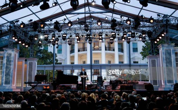 American politician US President Barack Obama speaks from the stage during the International Jazz Day Concert on the South Lawn of the White House...