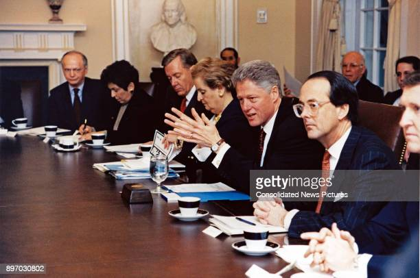 American politician US President Bill Clinton chairs a Cabinet Meeting in the Cabinet Room of the White House Washington DC January 23 1998 Among...