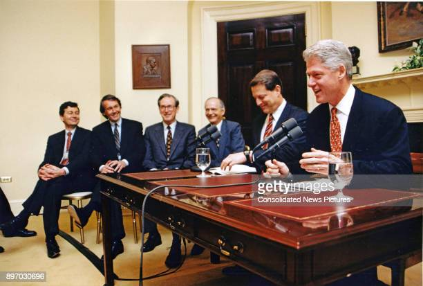 American politician US President Bill Clinton delivers his weekly live radio address from the Roosevelt Room of the White House Washington DC...