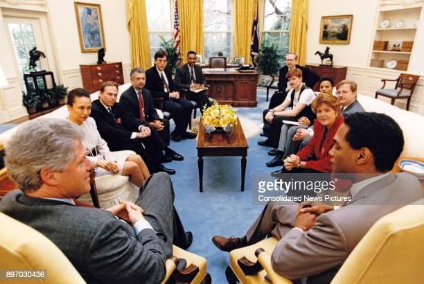 American politician US President Bill Clinton meets with representatives from gay and lesbian organizations in the White House's Oval Office...
