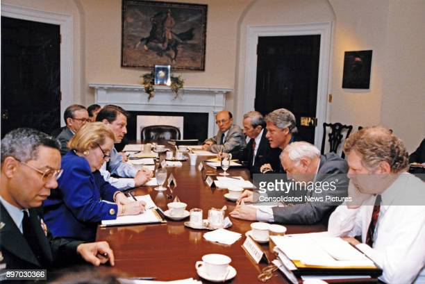American politician US President Bill Clinton meets with his national security team in the Roosevelt Room of the White House Washington DC May 1 1993...