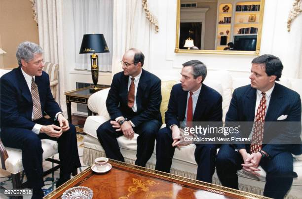 American politician US President Bill Clinton meets with Kevin Blum Mark McEntee and Michael O'Connor Jr at the Waldorf Astoria Hotel New York New...