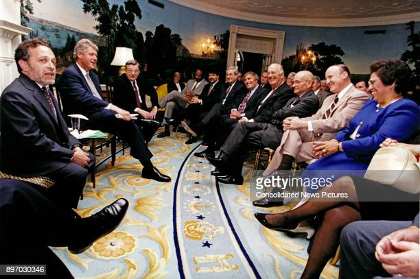 American politician US President Bill Clinton meets with the AFLCIO Executive Council in the Diplomatic Reception Room at the White House Washington...