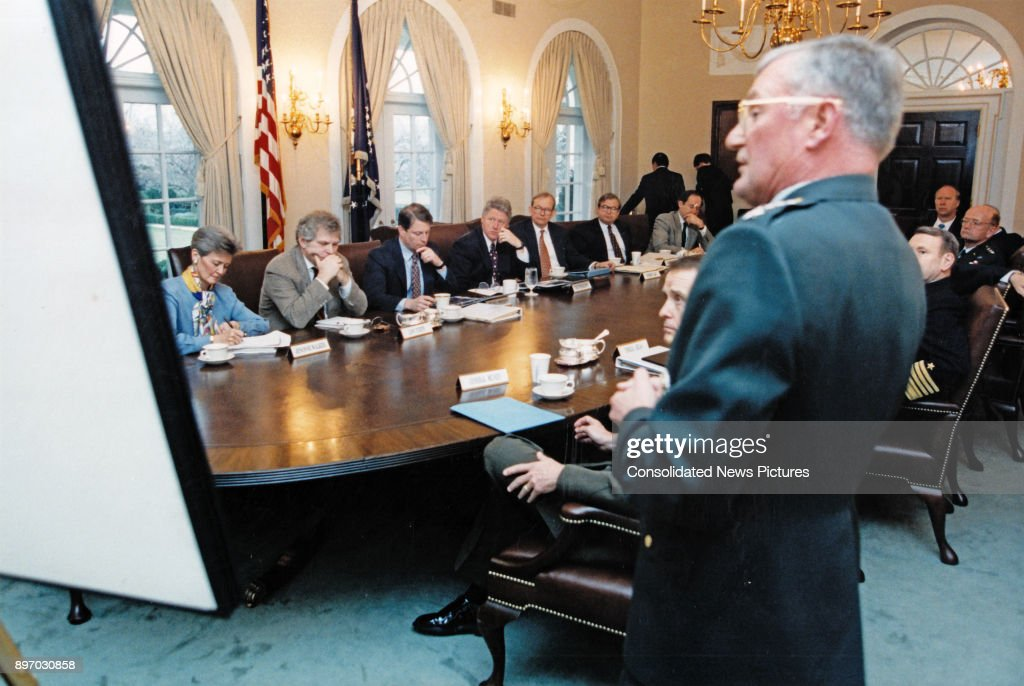 American Politician US President Bill Clinton (far Side Of Table, Fourth  Left) Meets