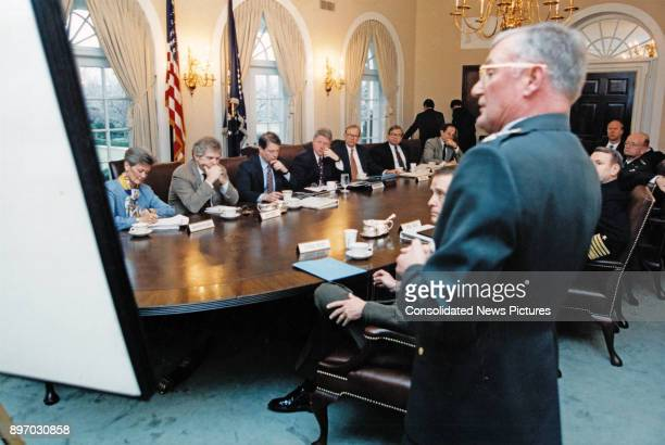 American politician US President Bill Clinton meets with the Joint Chiefs of Staff in the Cabinet Room of the White House Washington DC January 3...