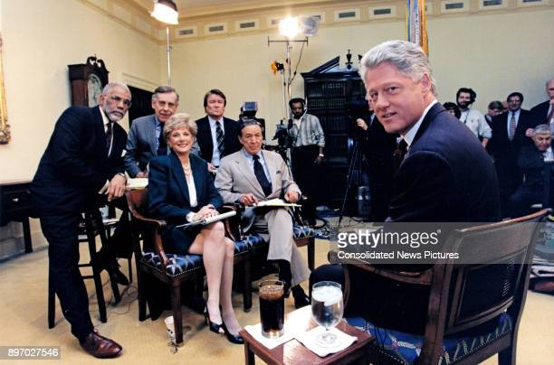 American politician US President Bill Clinton poses for a photo as he records an interview with the CBS program '60 Minutes' in the White House's...