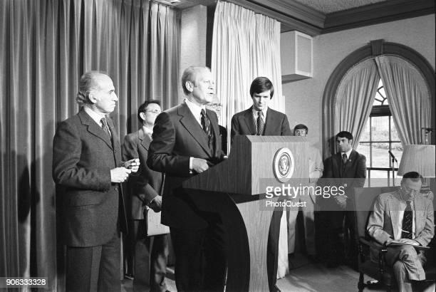 American politician US President Gerald Ford announces a national swine flu immunization program in the White House Press Briefing Room, Washington...