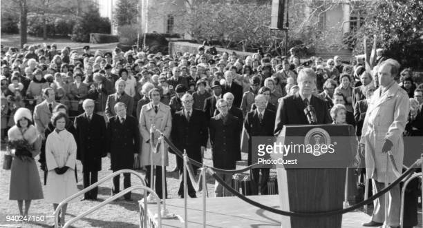 American politician US President Jimmy Carter welcomes Canadian Prime Minister Pierre Trudeau at an arrival ceremony on the White House grounds...