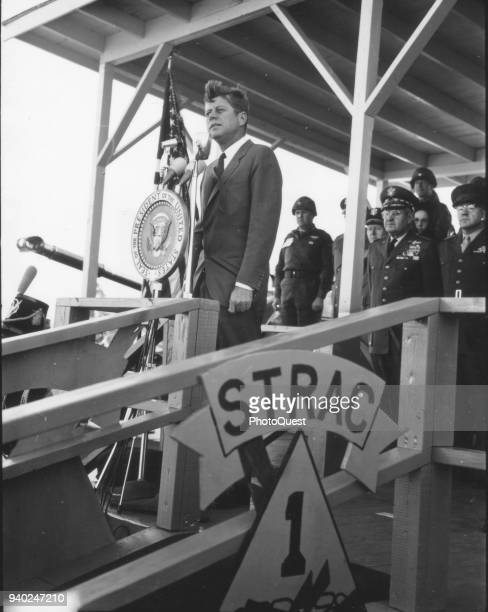 American politician US President John F Kennedy addresses the 1st Armored Division staged at Fort Stewart during a tour, Goergia, November 26, 1962.