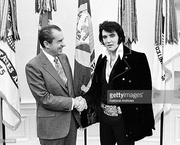 President Richard Nixon meets with Elvis Presley December 21 1970 at the White House