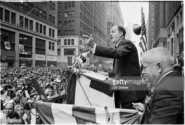American politician US Senator and Democratic vicepresidential nominee Hubert Humphrey delivers a speech during a campaign rally on 7th Avenue in the...