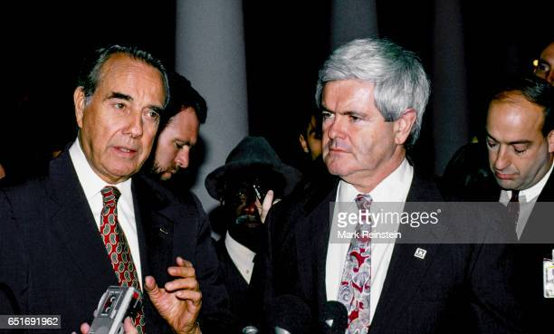 American politician US Senator and Senate Minority Leader Bob Dole and US Congressman and House Minority Whip Newt Gingrich speak with the press in...