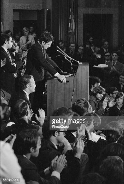 American politician US Senator Birch Bayh addresses Vietnam war protesters in the US Capitol Washington DC May 7 1970