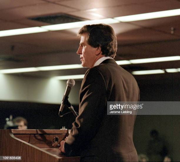American politician US Senator from Colorado and presidential candidate Gary Hart as he stands at a podium speaking at the Massachusetts State...