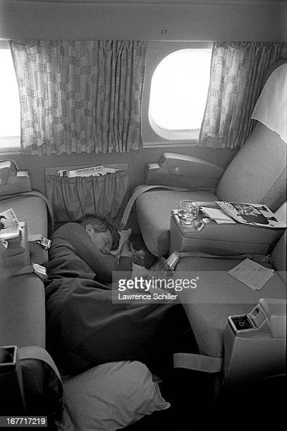 American politician US Senator Robert F Kennedy sleeps on an airplane during his campaign for the Presidency 1968