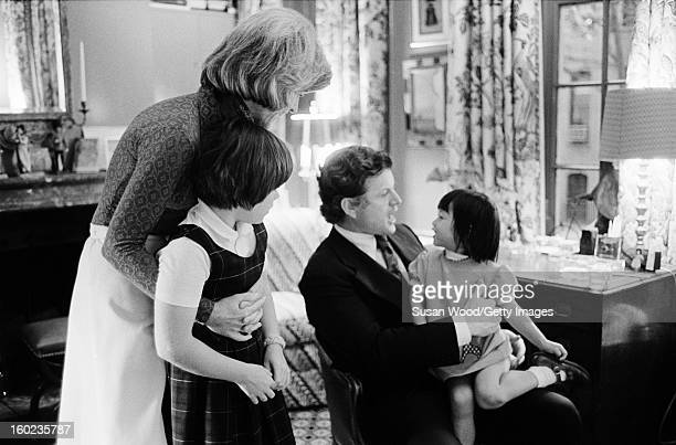 American politician US Senator Ted Kennedy visits his sister Jean Kennedy Smith and her daughters in their Upper West Side town house New York New...