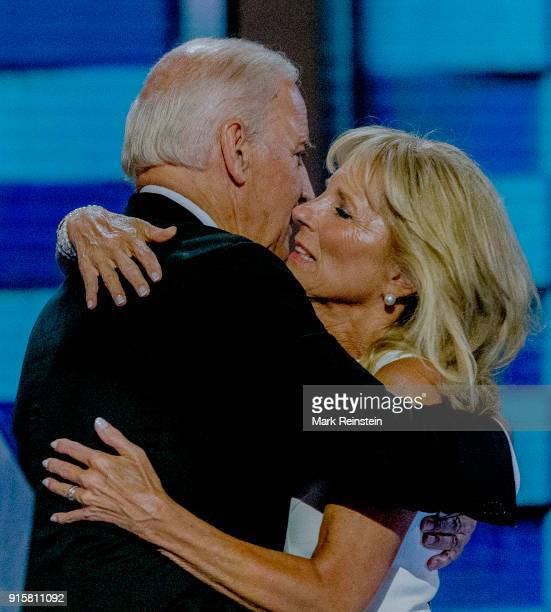 American politician US Vice President Joe Biden and his wife educator Dr Jill Biden embrace on the podium during the Democratic National Convention...