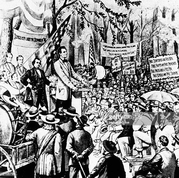 American politicians Abraham Lincoln and Stephen Douglas debating during a campaign for a US Senate seat in Illinois In the first of the...