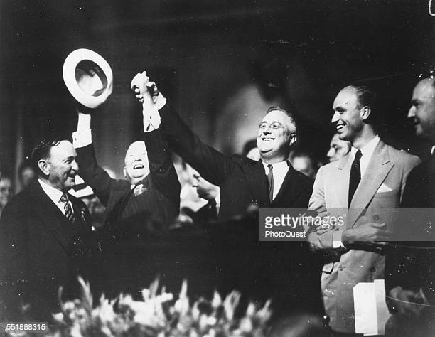 American politicians and Democratic Presidential and Vice Presidential nominees respectively Franklin D Roosevelt and John Nance Garner celebrate...