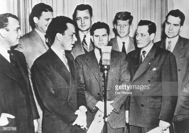 American politicians and future Presidents Richard Nixon and John F Kennedy with other freshmen Congressmen in Washington DC.