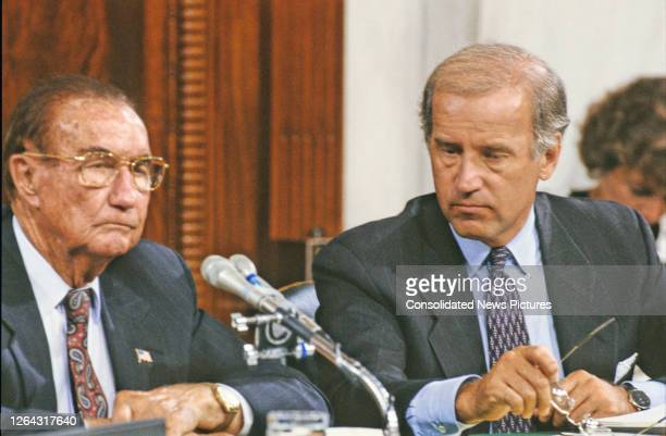 American politicians and US Senators Strom Thurmond and Joseph Biden, respectively the ranking member and Chairman of the Senate Judiciary Committee,...