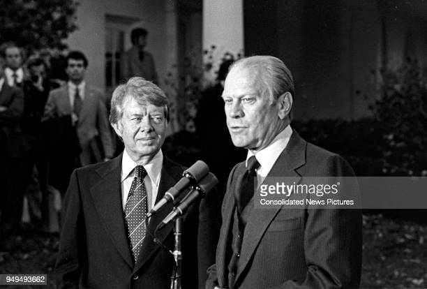 American politicians US President-Elect Jimmy Carter and US President Gerald Ford talk to press outside the White House, Washington DC, November 22,...