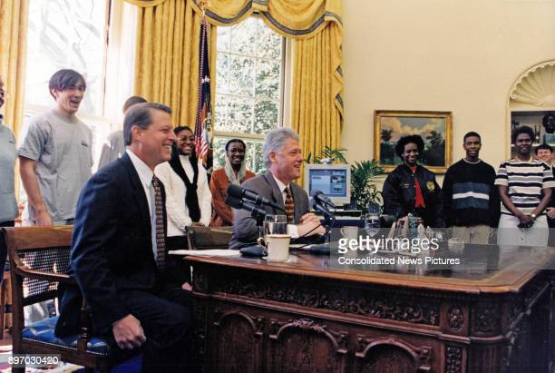 American politicians US Vice President Al Gore and US President Bill Clinton deliver a joint live radio address in the White House's Oval Office...