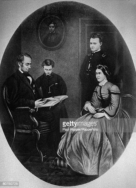 circa 1860 This illustration shows Abraham Lincoln one of the famous US Presidents with his wife and two of his sons The couple had four boys but...