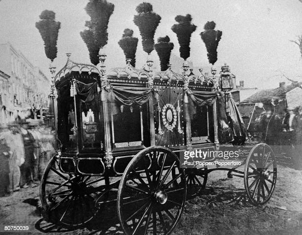 April 1865 The funeral of Abraham Lincon the picture showing the 'death coach' on which the coffin was carried the body was to be taken by special...