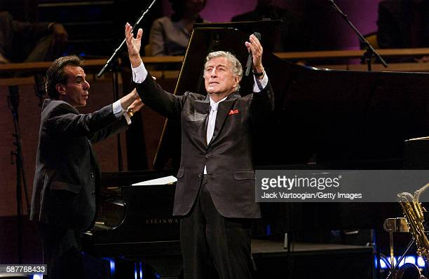American Pop and Jazz singer Tony Bennett performs with the Lincoln Center Jazz Orchestra during the inaugural concert of the Rose Theater in...