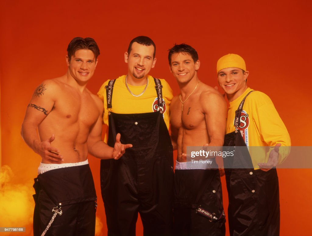 American pop and R&B group 98 Degrees, circa 2000; Nick Lachey, Justin Jeffre, Jeff Timmons, Drew Lachey.