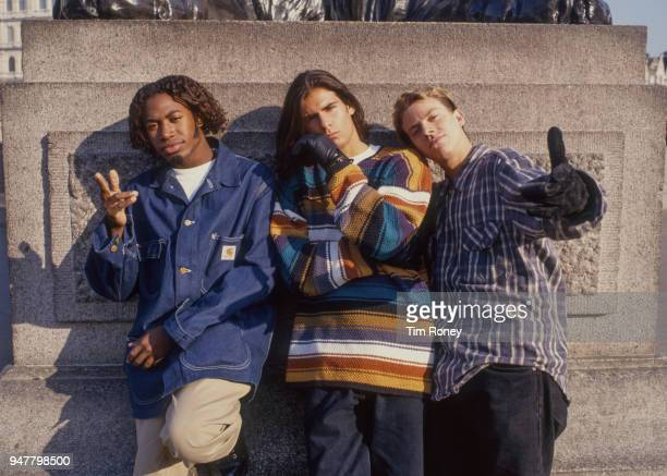 American pop and RB group EYC circa 1995 Damon Butler Dave Loeffler and Trey Parker