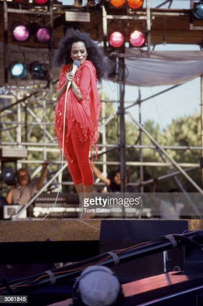 American pop and RB singer Diana Ross performs on stage in her Central Park concert New York City July 22 1983