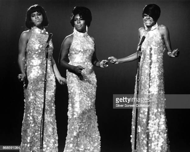 American Pop and Rhythm Blues group the Supremes sing during an unspecified performance mid to late 1960s Pictured are from left Cindy Birdsong Mary...
