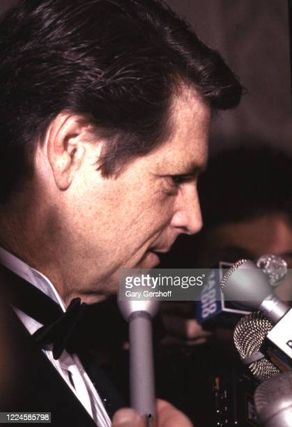 American Pop and Rock musician Brian Wilson, of the Beach Boys, is interviewed during the Third Annual Rock and Roll Hall of Fame Awards ceremony at...