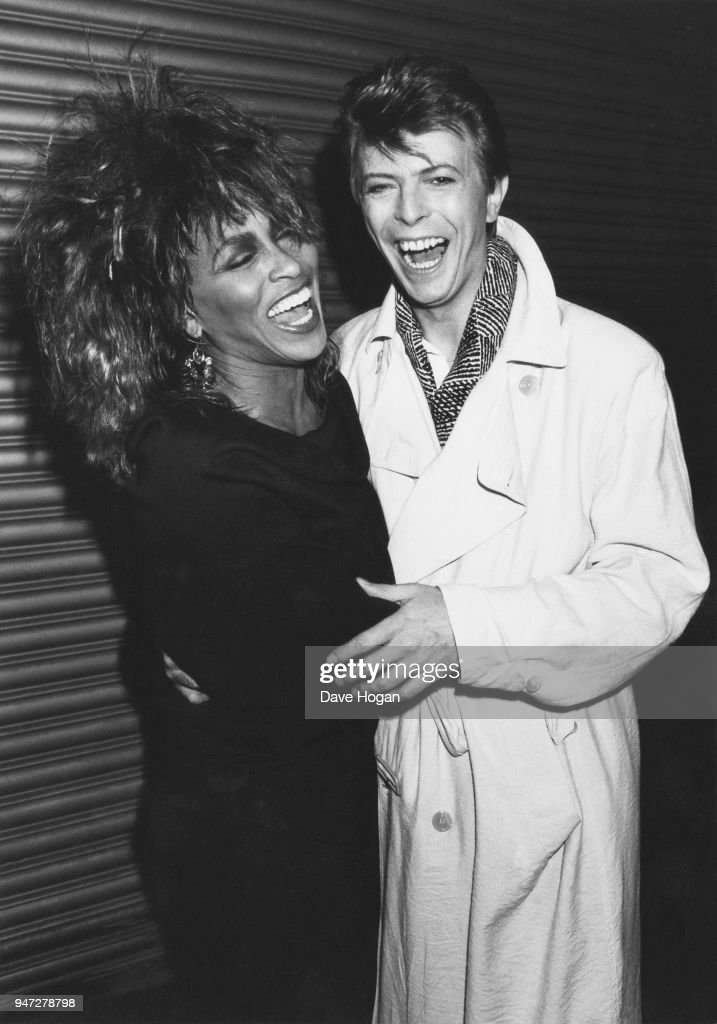 American pop and soul singer Tina Turner with English singer-songwriter David Bowie, 1985.