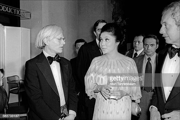 American Pop artist Andy Warhol meets Philippine First Lady Imelda Marcos, New York, New York, December 21, 1976.