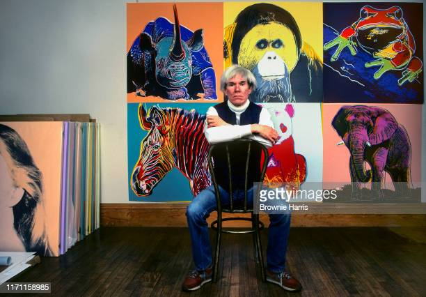 American Pop artist Andy Warhol sits in front of several paintings in his 'Endangered Species' at his studio the Factory in Union Square New York New...