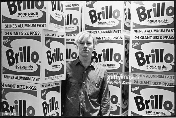 American pop artist Andy Warhol stands amid his towering Brillo box sculptures in the Stable Gallery , New York, New York, April 21, 1964.