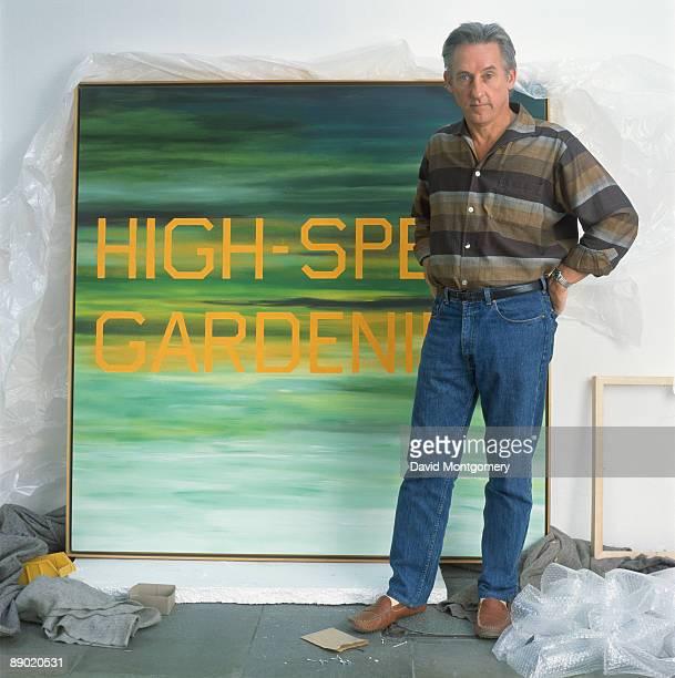 American pop artist Edward Ruscha with his 1986-7 work 'High-Speed Gardening', 14th December 1990.