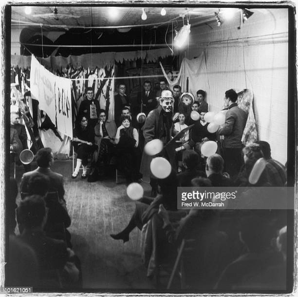 American pop artist Jim Dine performs as a clown in Allen Kaprow's 'The Big Laugh' at the Reuben Gallery New York New York January 9 1960