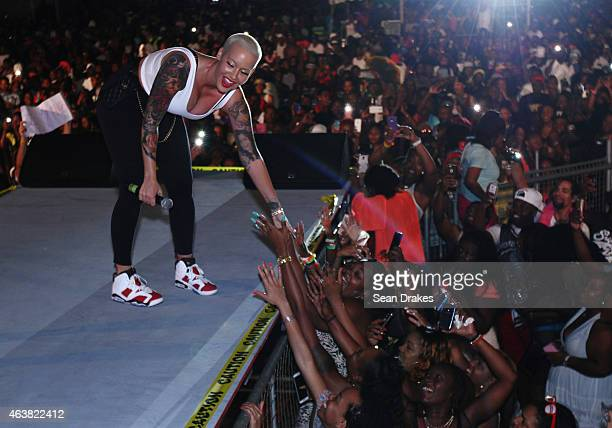 American pop culture personality Amber Rose greets fans at Baewatch Soca Water party at Pier 2 during Trinidad and Tobago Carnival on February 18...