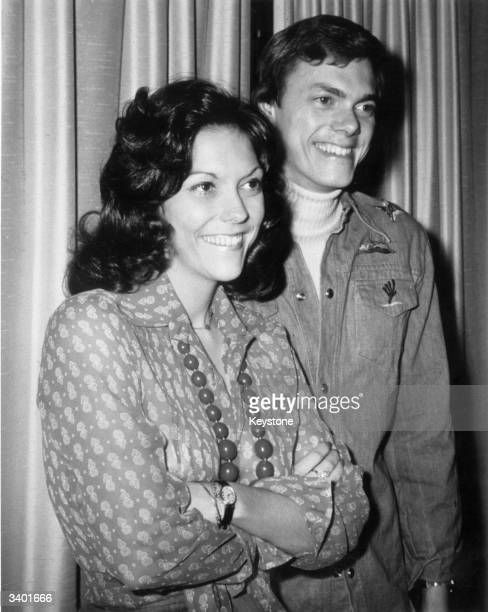 American pop duo Richard Carpenter and Karen Carpenter backstage during a British tour