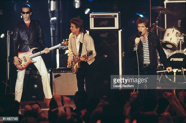 American pop group Huey Lewis and the News performing at Montreux Switzerland 1985 Left to right bassist Mario Cipollina guitarist Johnny Colla and...