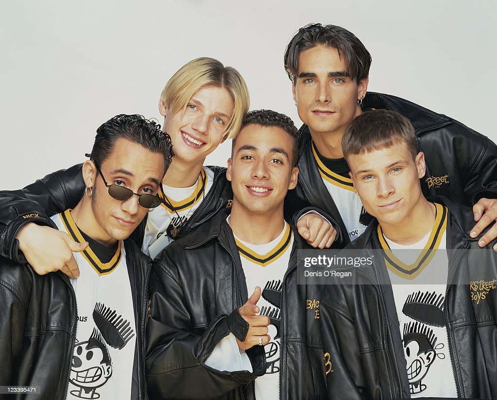 American pop group the Backstreet Boys, circa 1995. From left to right, they are A. J. McLean, Nick Carter, Howie Dorough, Kevin Richardson and Brian Littrell.