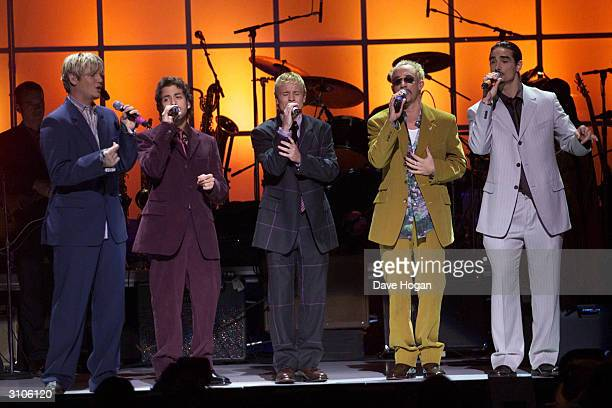 American pop group the 'Backstreet Boys' perform on stage at 'The Concert for New York City' held at Madison Square Gardens on October 20 2001 in New...